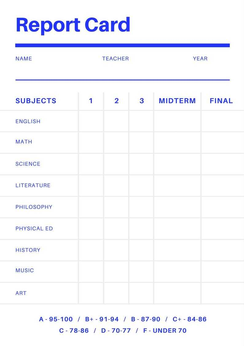 Free Online Report Card Maker: Design A Custom Report Card Within Report Card Template Middle School