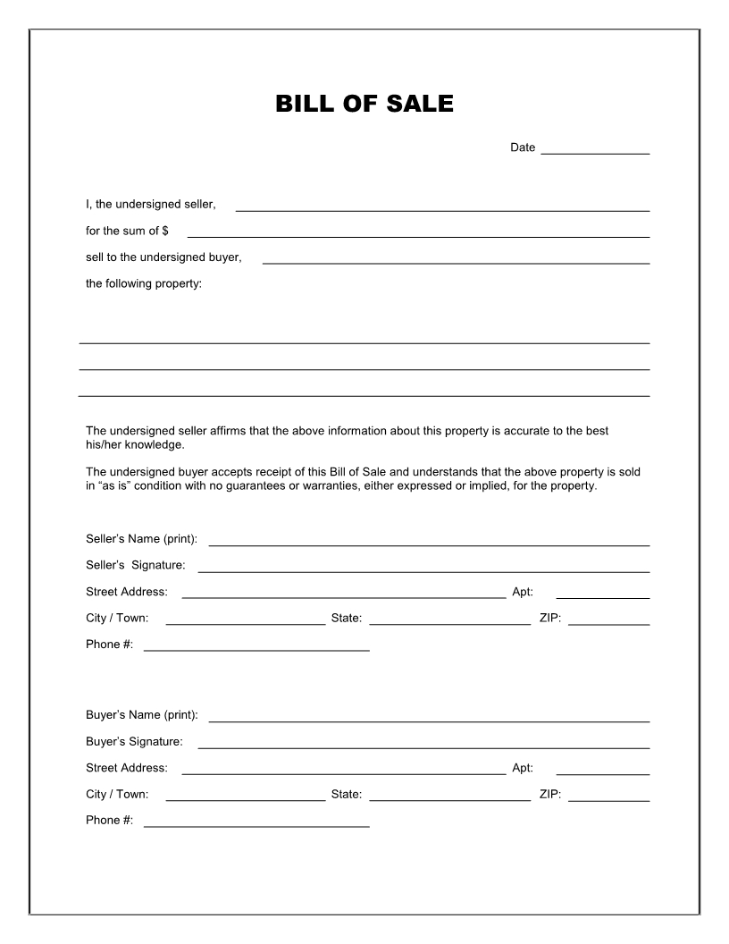 Free Printable Blank Bill Of Sale Form Template - As Is Bill Pertaining To Blank Legal Document Template