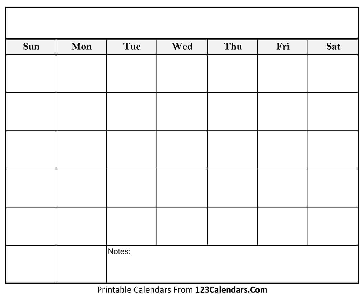 Free Printable Blank Calendar | 123Calendars With Regard To Full Page Blank Calendar Template