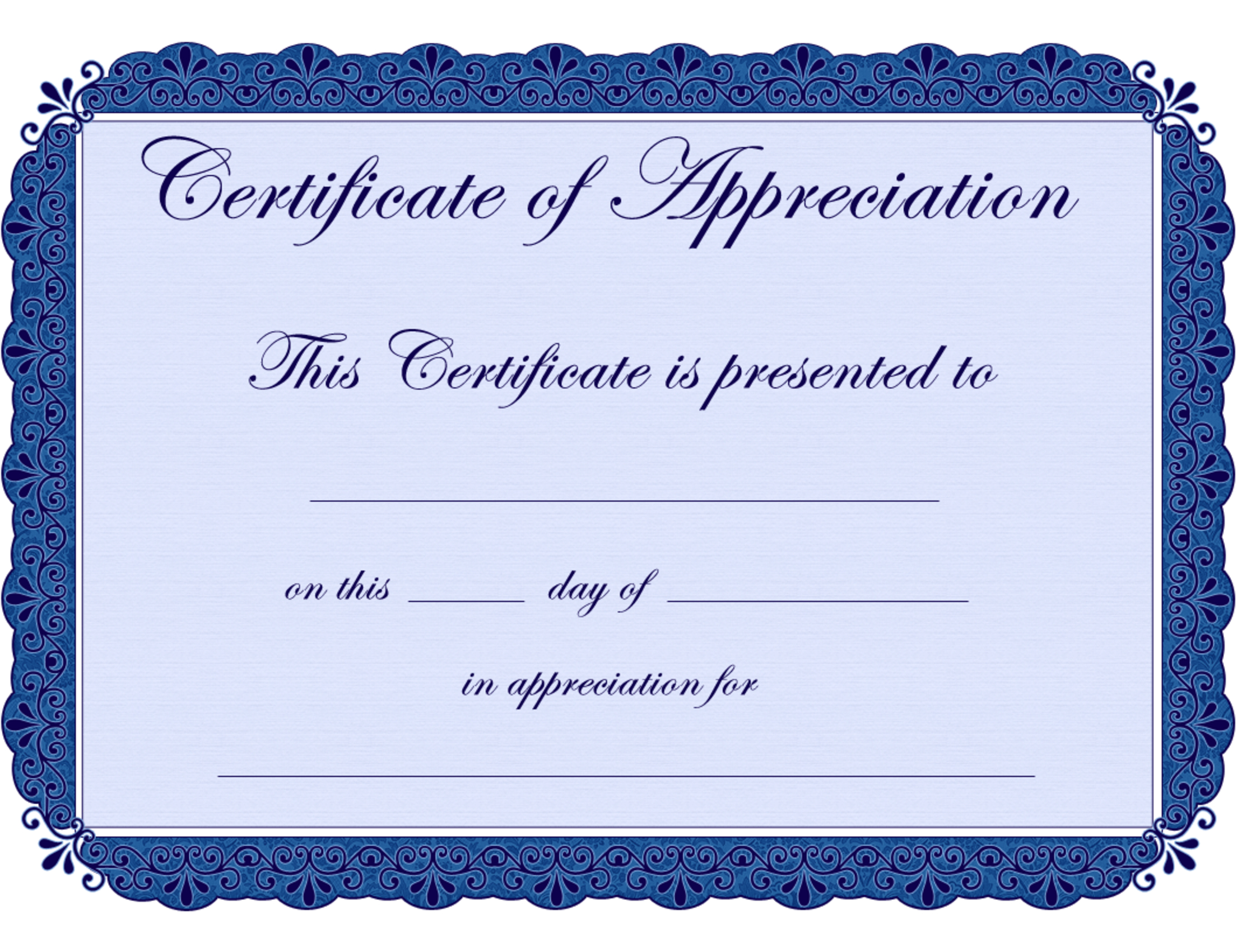 Free Printable Certificates Certificate Of Appreciation Regarding Printable Certificate Of Recognition Templates Free