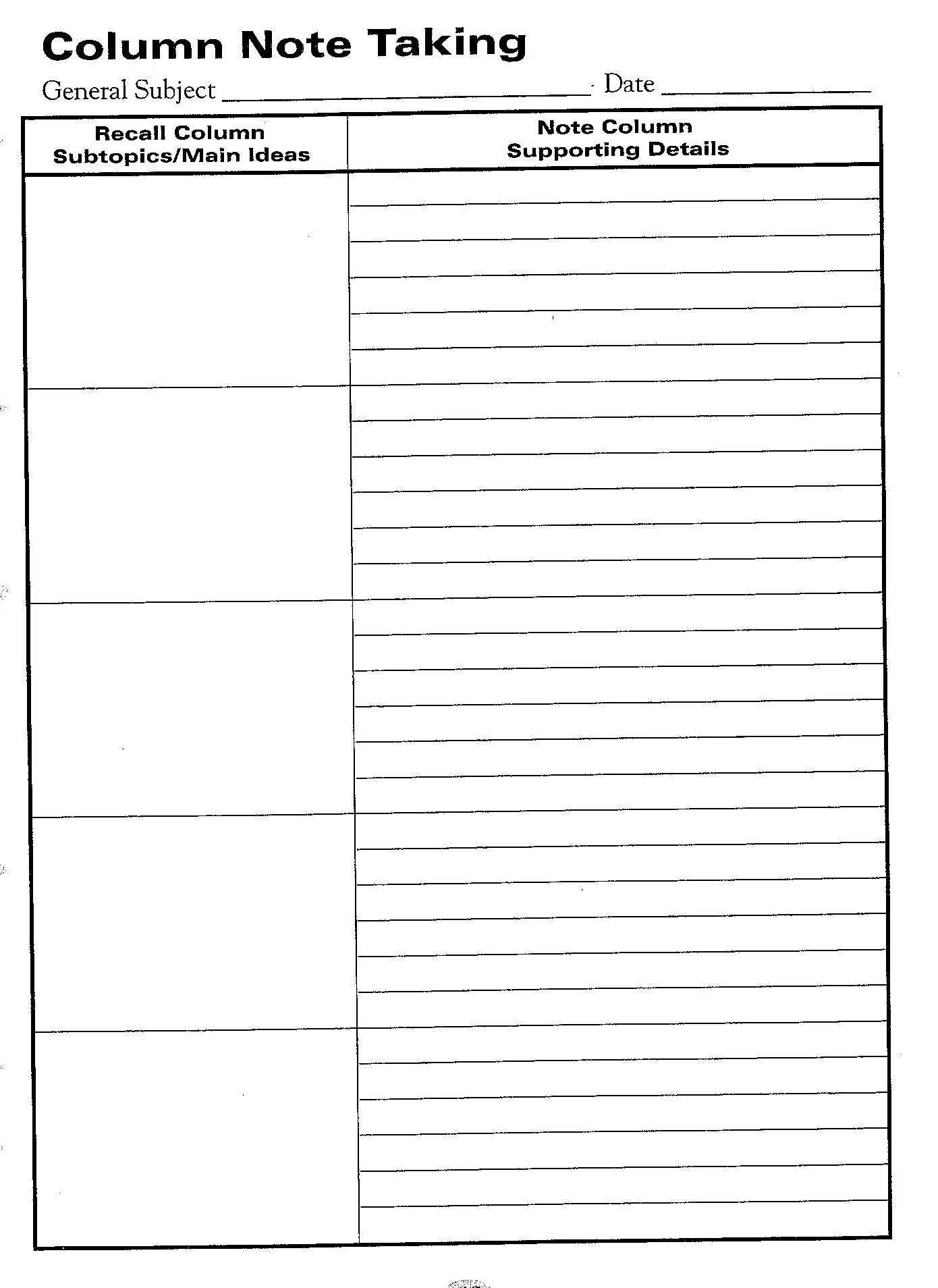 Free Printable Cornell Notes Graphic Organizer    Comic Intended For Note Taking Template Word