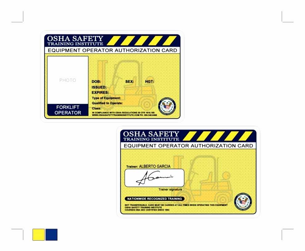 Free Printable Forklift License Template Then Forklift With Forklift Certification Card Template