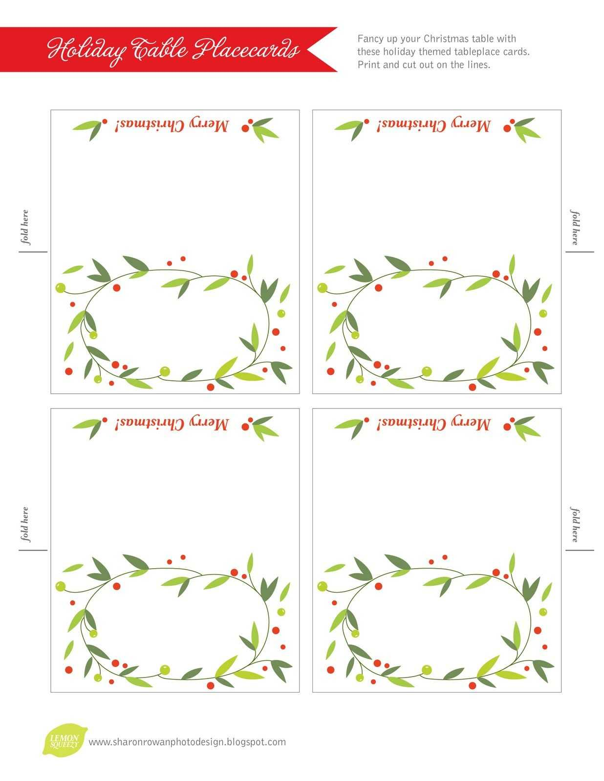 Free Printable Lemon Squeezy: Day 12: Place Cards With Christmas Table Place Cards Template