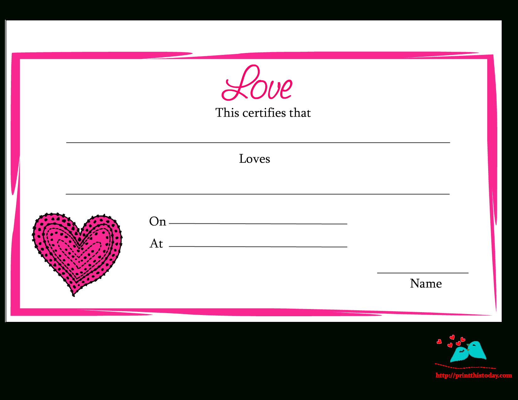 Free Printable Love Certificates In Love Certificate Templates