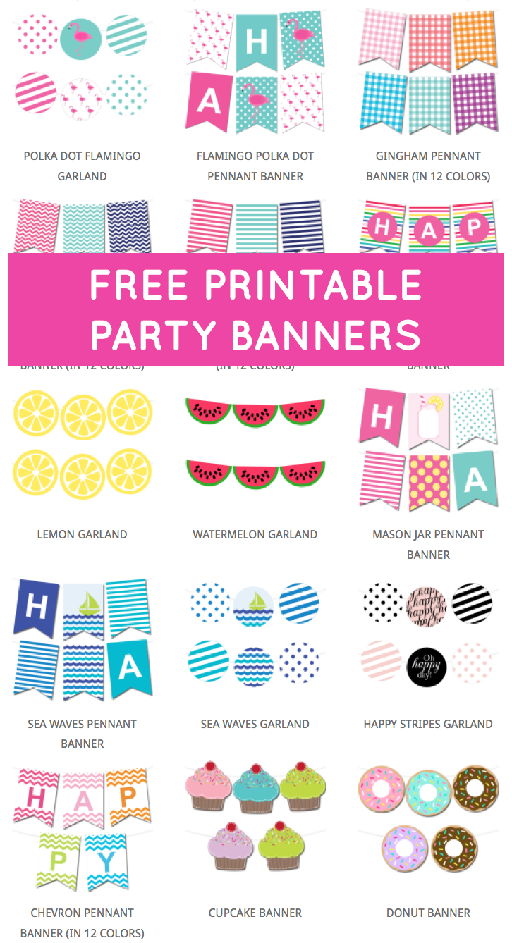 Free Printable Party Banners From @chicfetti   Free For Free Printable Party Banner Templates