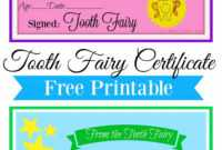 Free Printable Tooth Fairy Certificate | Tooth Fairy Ideas throughout Tooth Fairy Certificate Template Free
