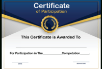 Free Sample Format Of Certificate Of Participation Template with Certificate Of Participation Template Doc