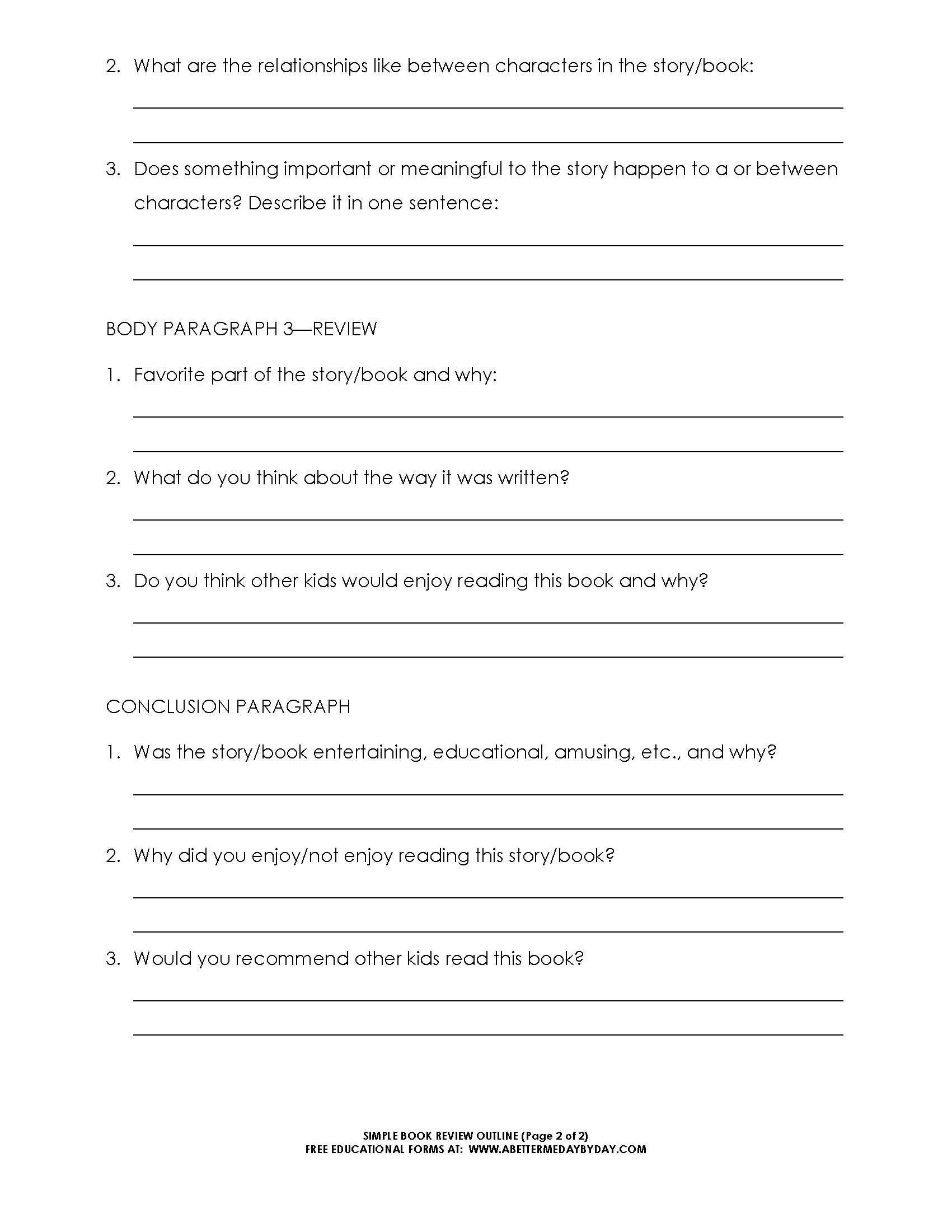 Free: Simple 5 Paragraph Book Review Or Report Outline Form For One Page Book Report Template