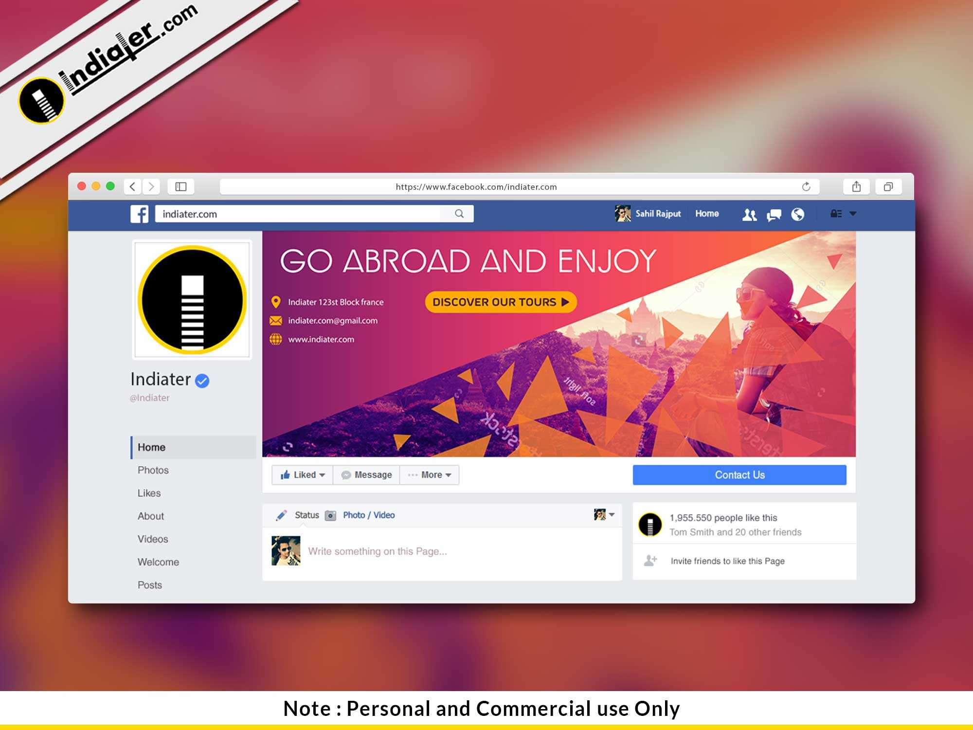 Free Travel Facebook Cover Psd Template - Indiater Pertaining To Photoshop Facebook Banner Template