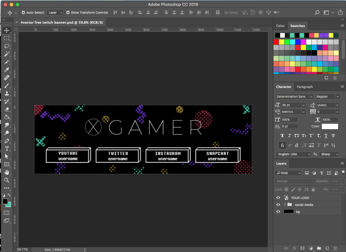 Free Twitch Banner Template In Psd (And How To) / 4Vector In Adobe Photoshop Banner Templates