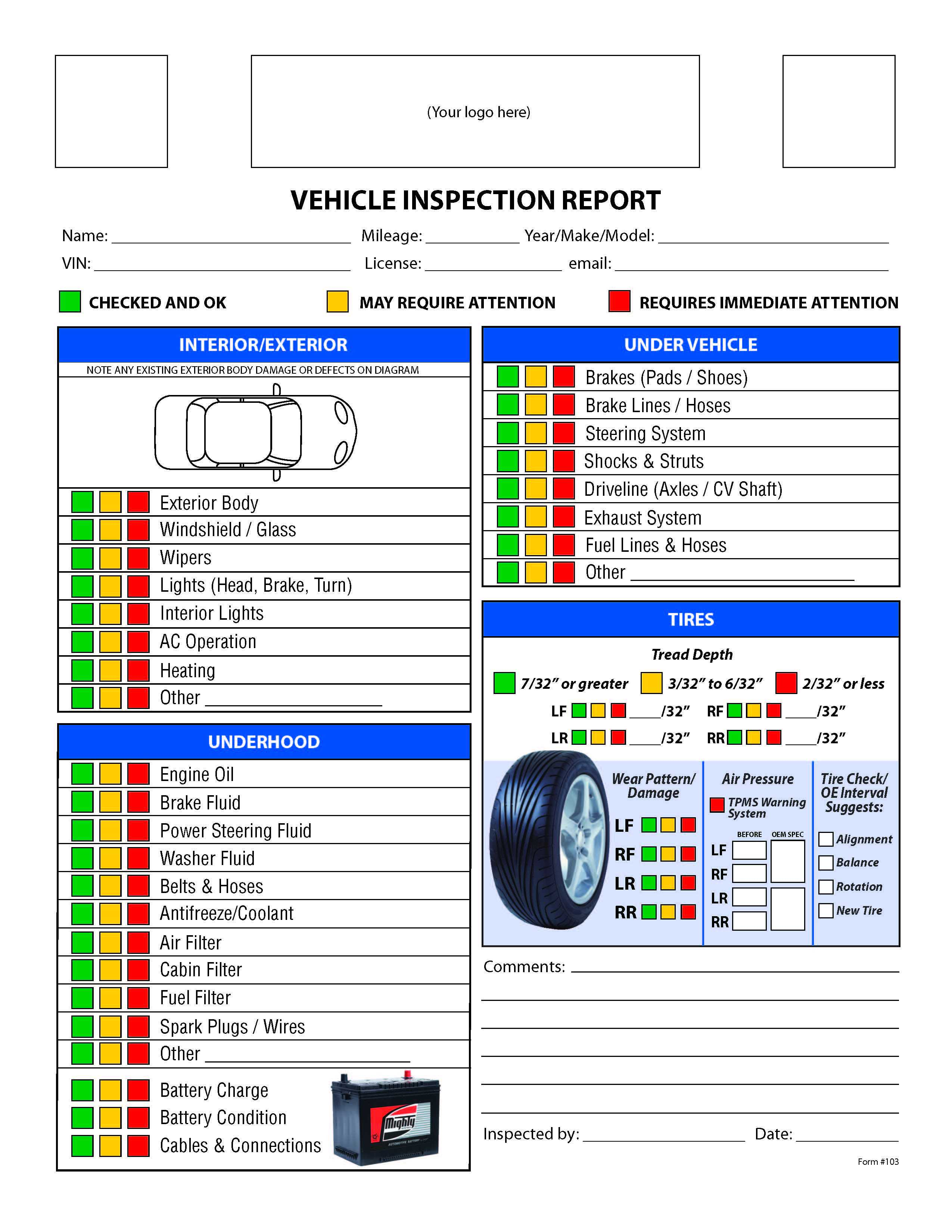 Free Vehicle Inspection Checklist Form | Good To Know With Regard To Vehicle Inspection Report Template