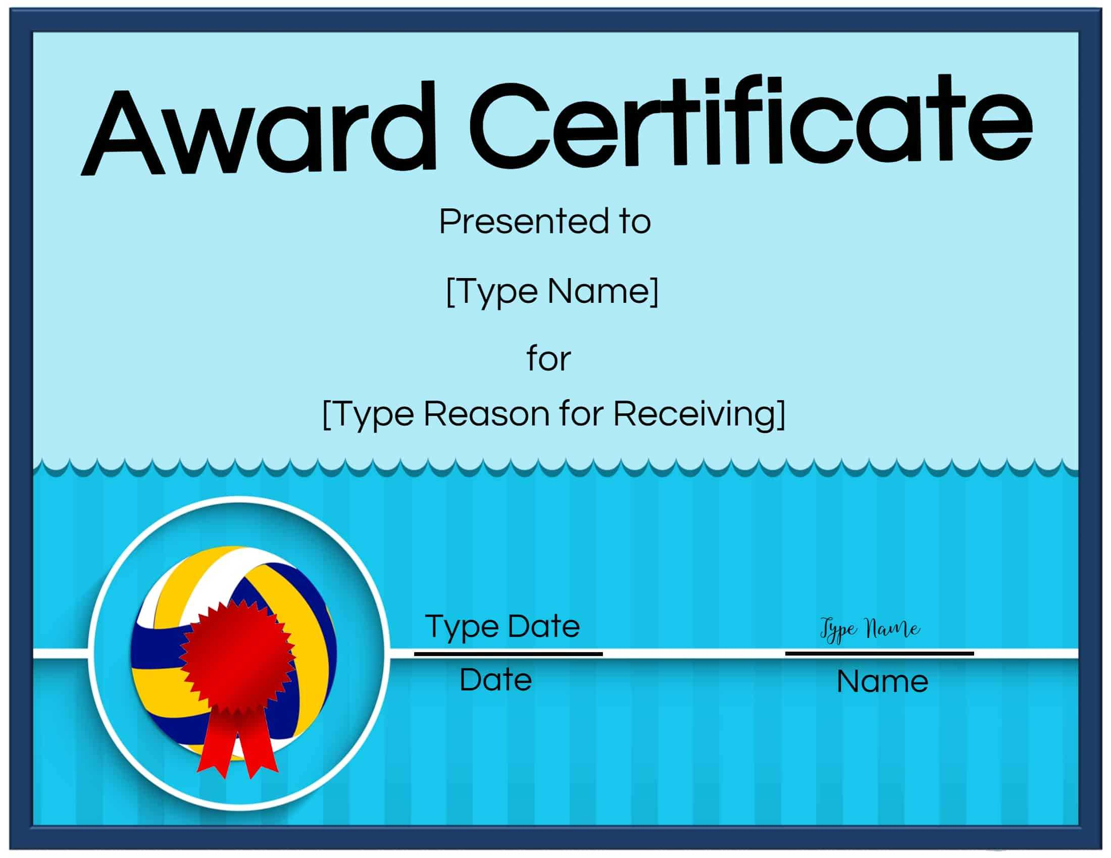 Free Volleyball Certificate   Customize Online & Print In Inside Rugby League Certificate Templates
