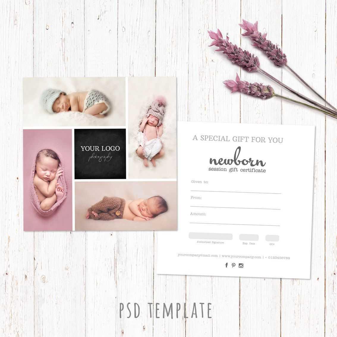 Gift Certificate Template. Newborn Session Photography Gift Inside Photoshoot Gift Certificate Template