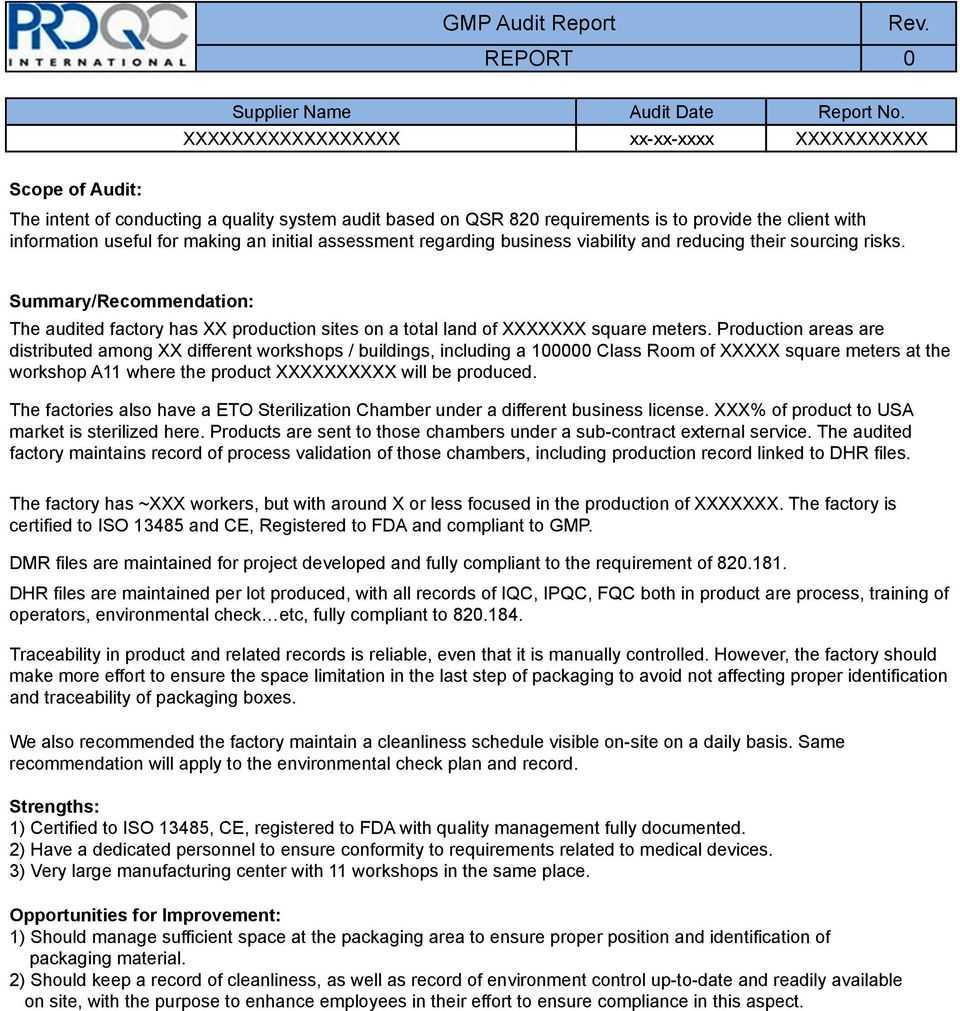 Gmp Audit Report. * Example Report * - Pdf Throughout Gmp Audit Report Template