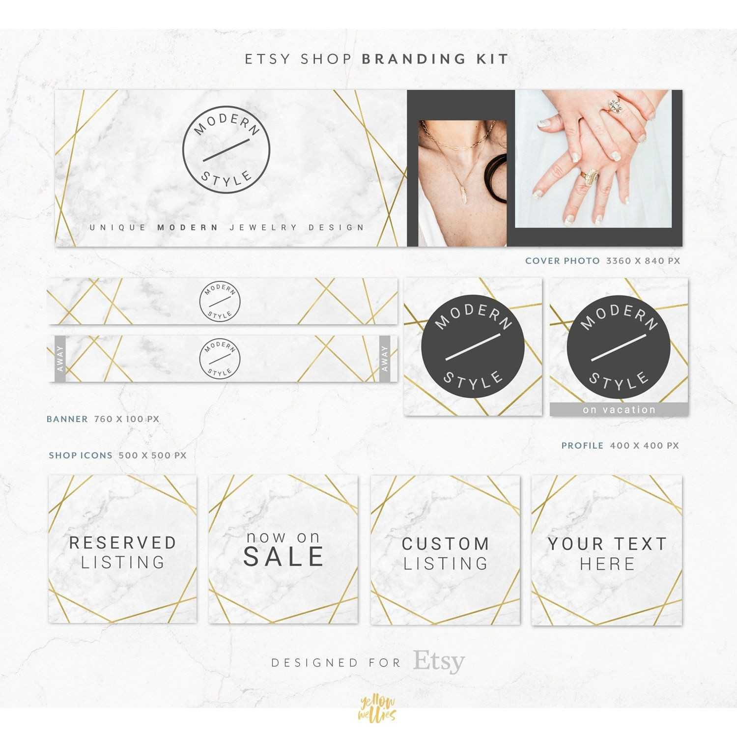 Gold Marble Modern Etsy Shop Graphic Bundle Kit | Etsy Throughout Free Etsy Banner Template