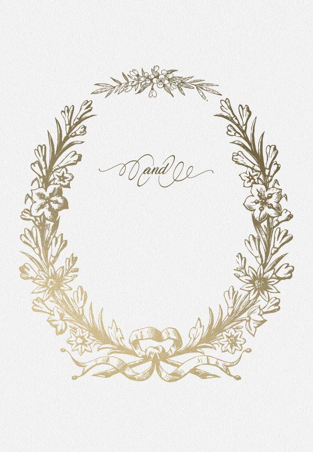 Golden Wreath - Rehearsal Dinner Party Invitation Template With Blank Templates For Invitations