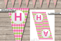 Golf Birthday Party Banner Template – Pink & Green for Diy Party Banner Template