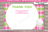 Golf Birthday Party Thank You Cards Template – Pink/green within Thank You Note Card Template