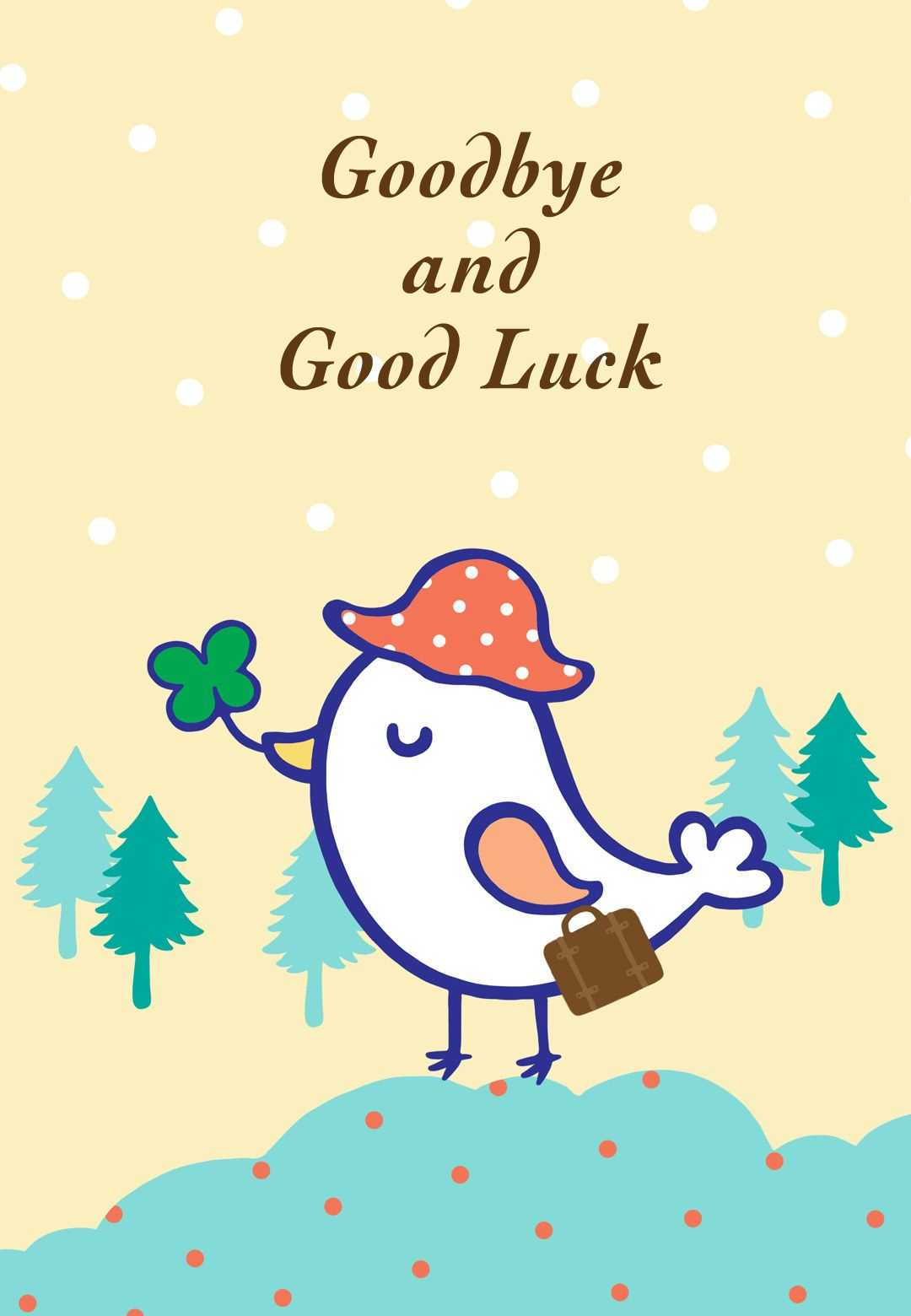 Goodbye And Good Luck - Farewell Card (Free | R | Goodbye With Good Luck Card Template