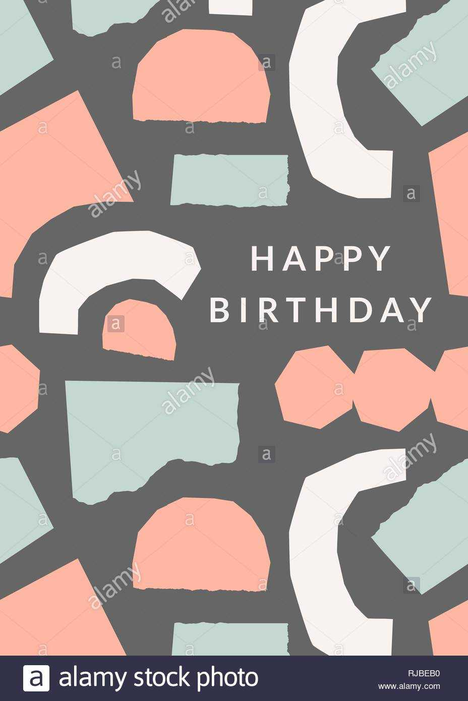 Greeting Card Template With Torn Paper Pieces In Pastel Inside Birthday Card Collage Template