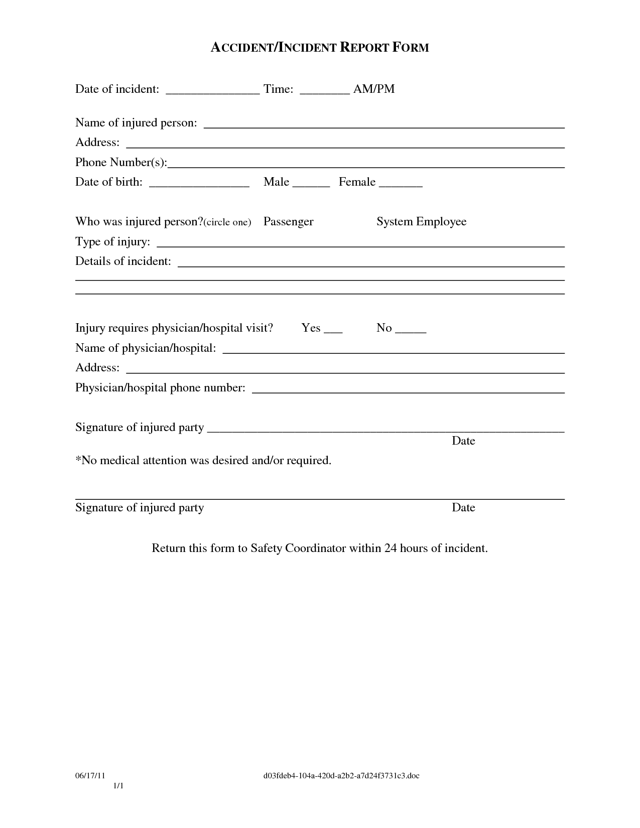 Guest Incident Report - Sinda.foreversammi With Regard To Ohs Incident Report Template Free
