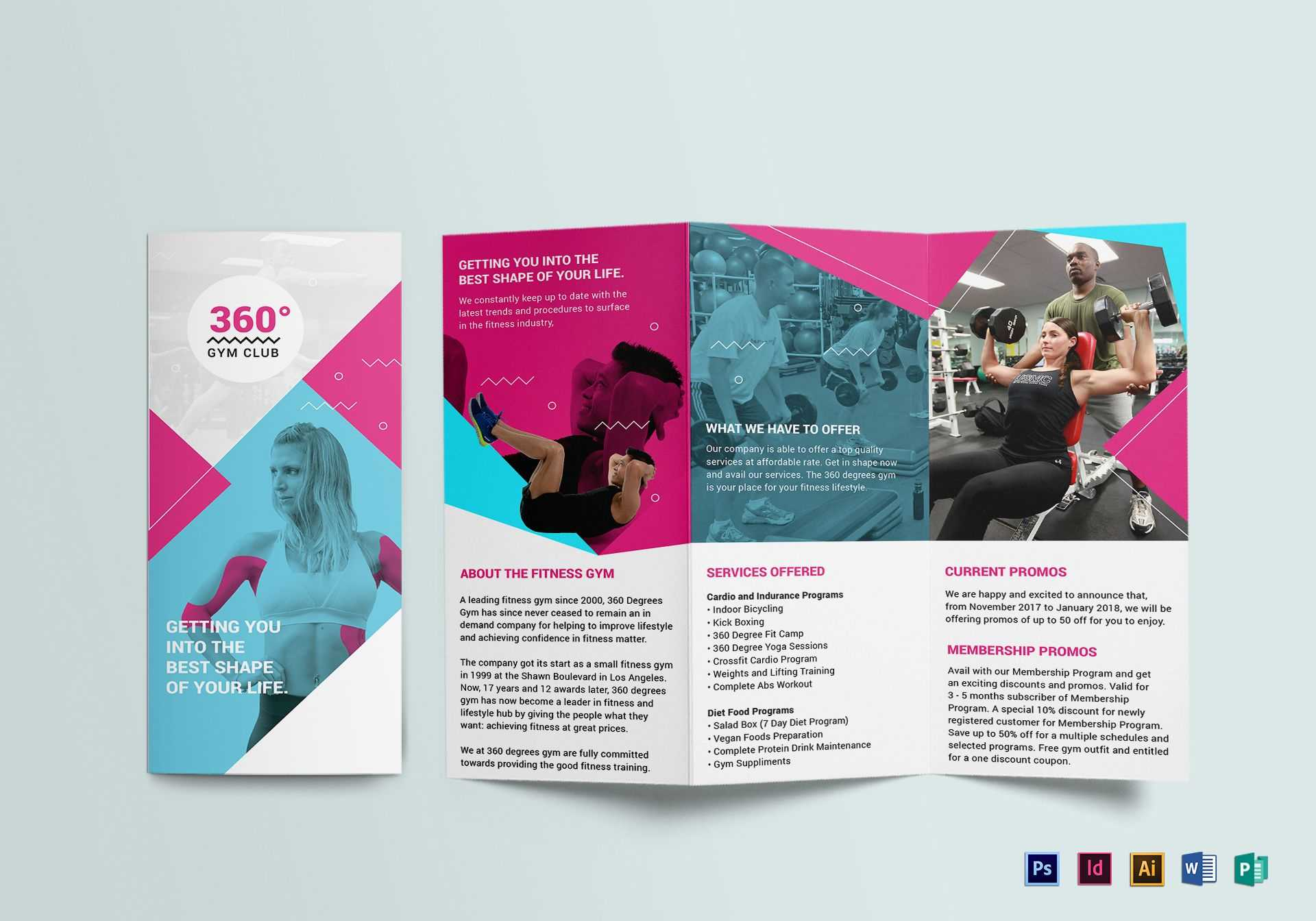 Gym Tri Fold Brochure Template Within Tri Fold Brochure Publisher Template