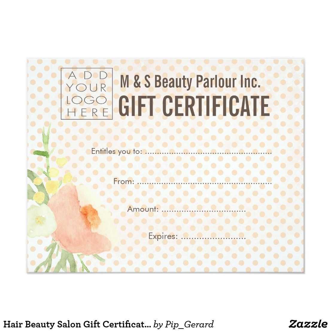 Hair Beauty Salon Gift Certificate Template | Zazzle With Regard To Salon Gift Certificate Template