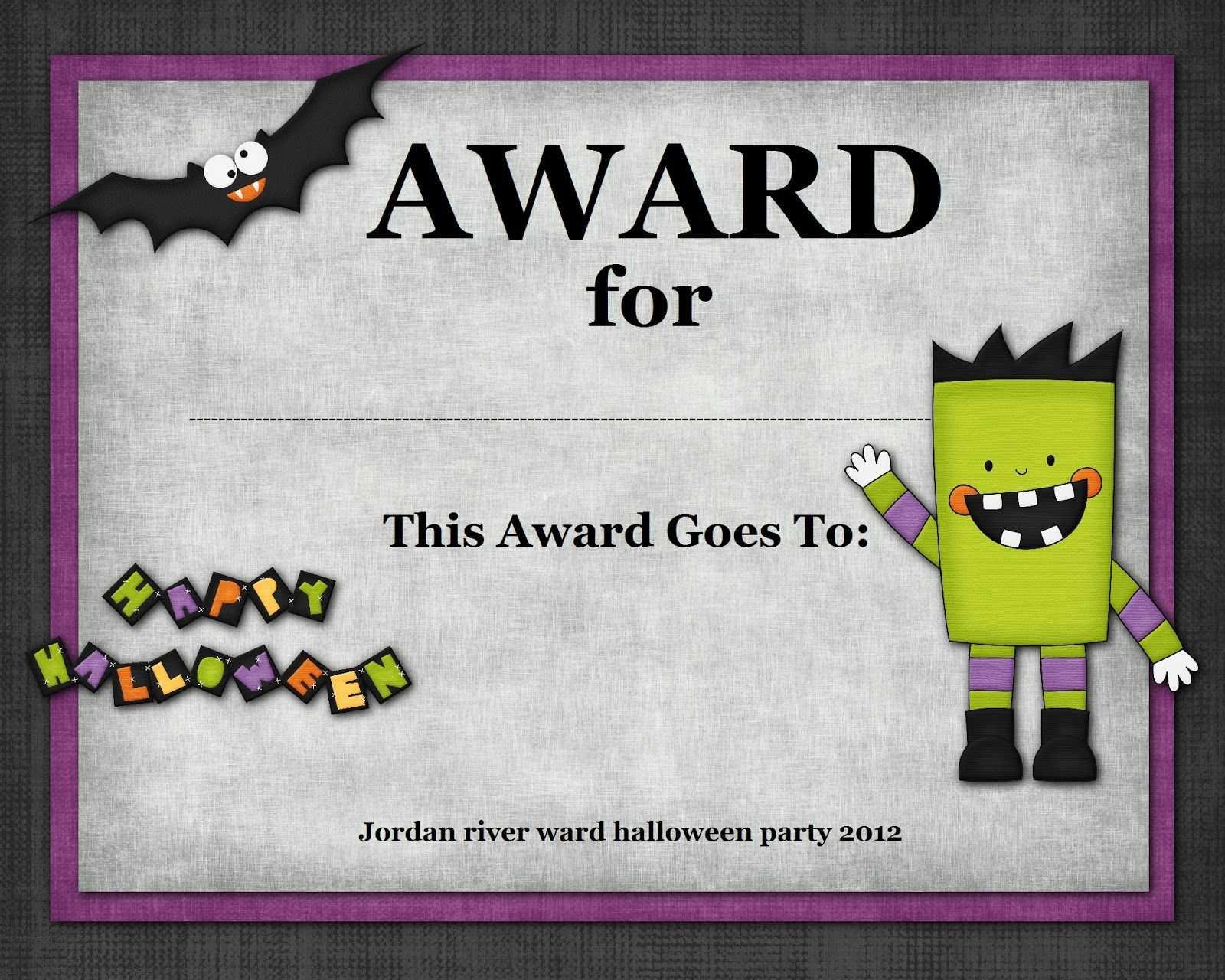 Halloween Costume Award In 2019 | Halloween Costume Awards In Halloween Costume Certificate Template