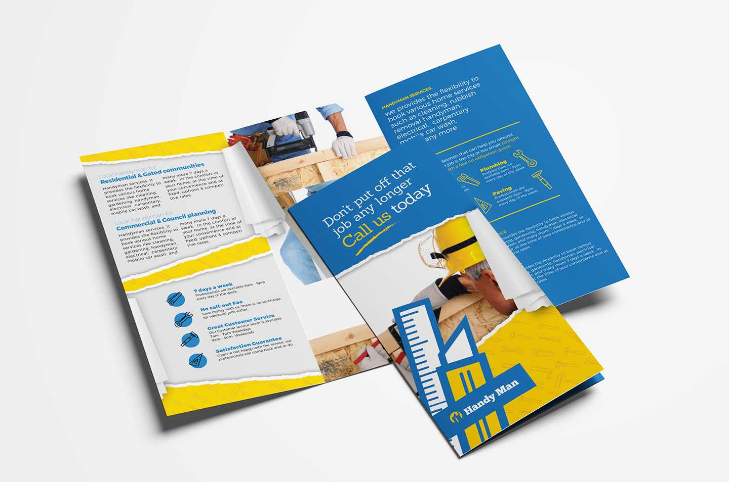 Handyman Tri Fold Brochure Template In Psd, Ai & Vector Inside Commercial Cleaning Brochure Templates
