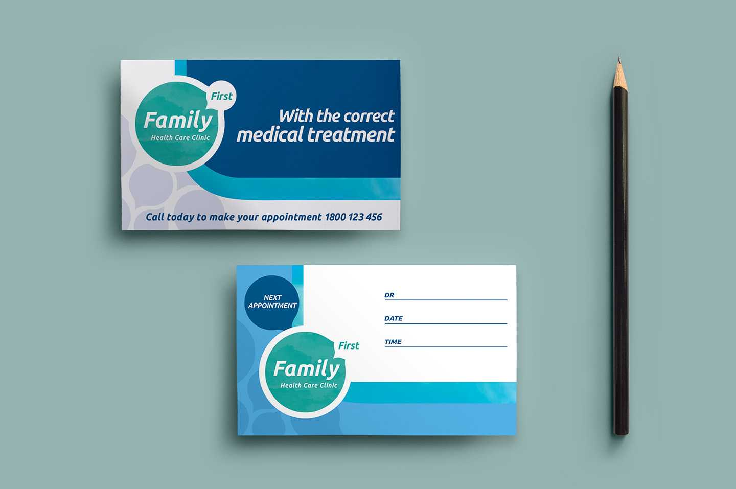 Healthcare Clinic Appointment Card Template In Psd, Ai Regarding Dentist Appointment Card Template
