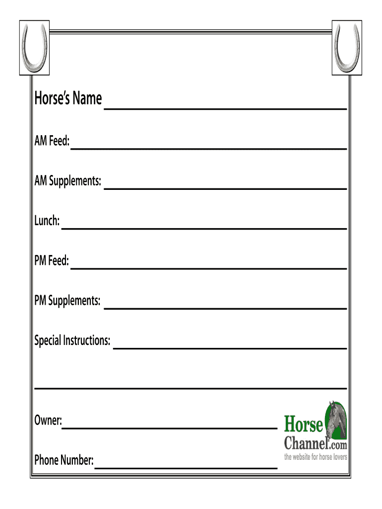 Horse Stall Cards Templates - Fill Online, Printable Throughout Horse Stall Card Template