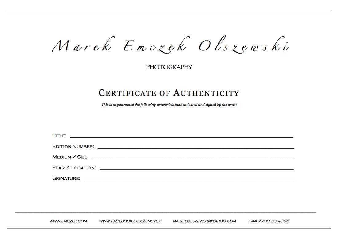 How To Create A Certificate Of Authenticity For Your Photography Intended For Photography Certificate Of Authenticity Template