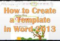 How To Create A Template In Word 2013 with regard to How To Insert Template In Word