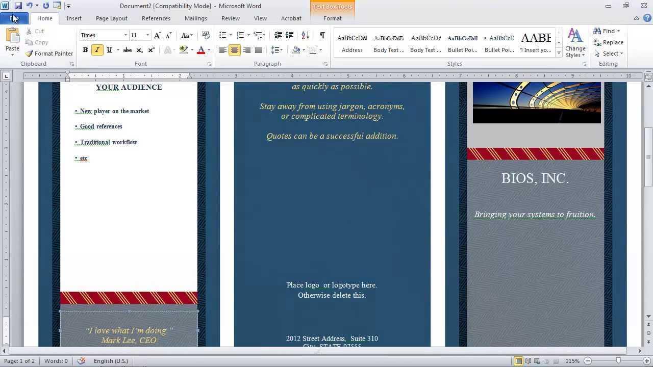 How To Make A Brochure In Microsoft Word Within Brochure Template On Microsoft Word