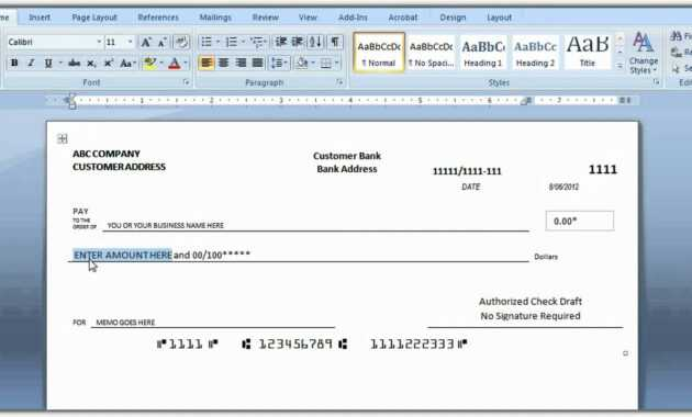 How To Print A Check Draft Template throughout Personal Check Template Word 2003