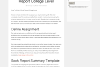 How To Write A Book Report College Level – Bpi – The inside College Book Report Template