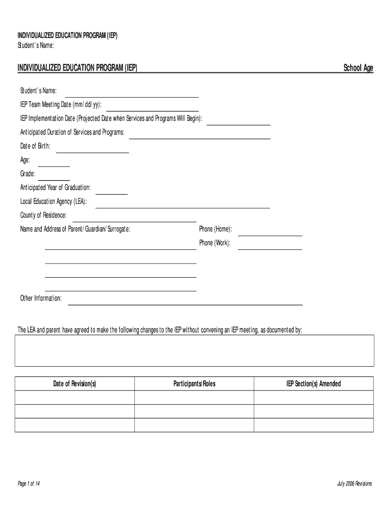 Iep Template - Fill Online, Printable, Fillable, Blank Intended For Blank Iep Template