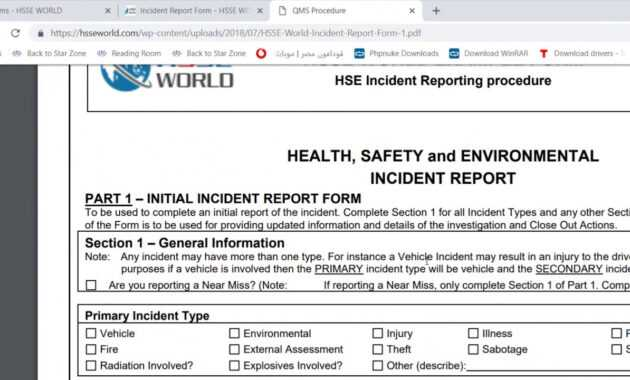 Incident Report Form - Hsse World intended for Health And Safety Incident Report Form Template