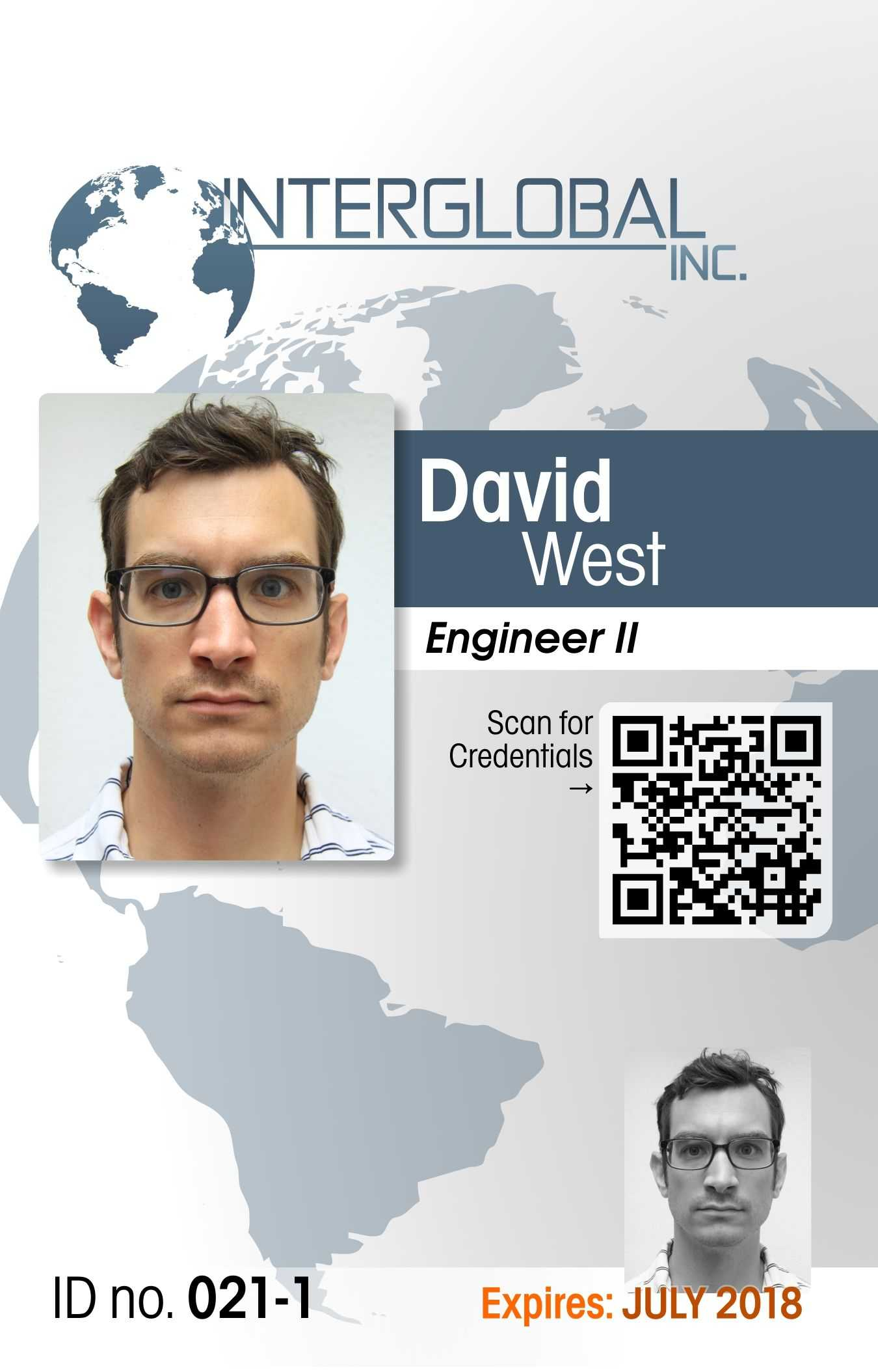Interglobal Portrait Id Card With Qr Code Credential throughout Portrait Id Card Template