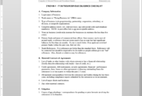 It Outsource Due Diligence Checklist Template | Itad109-1 for Vendor Due Diligence Report Template