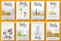 Italy Vector Brochure Cards Flat Set. Country Travel Template.. for Country Brochure Template