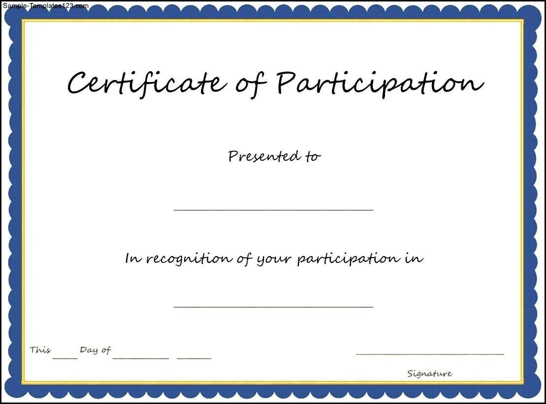 Key Components To Include On Certificate Of Participation Regarding Certificate Of Participation Template Doc