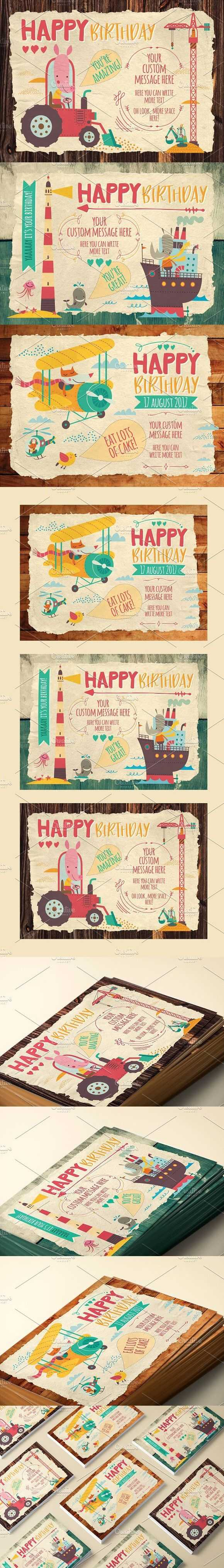 Kids Birthday Cards #children | Best Card Templates | Kids In Birthday Card Collage Template