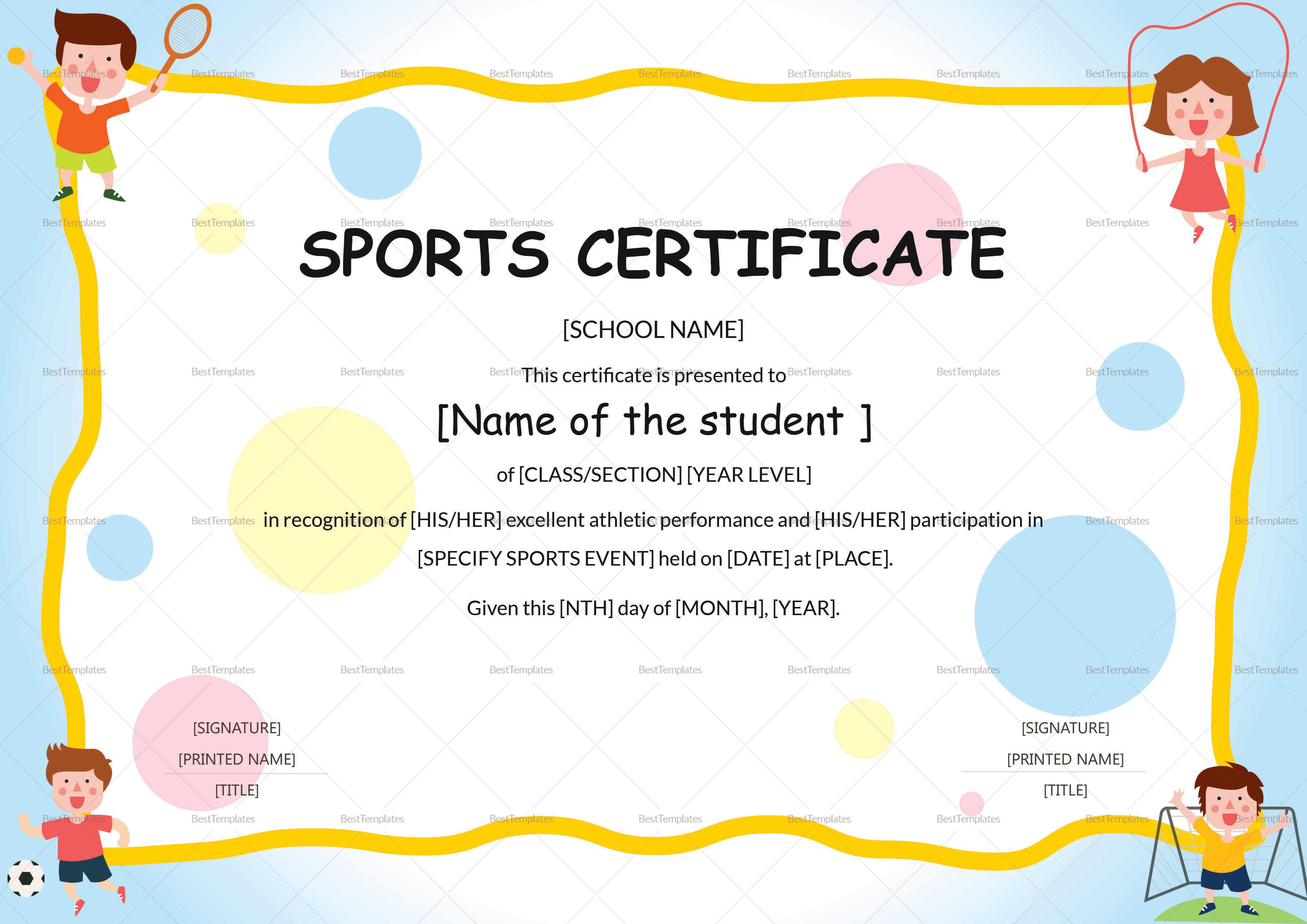 Kids Sports Participation Certificate Template Regarding Athletic Certificate Template