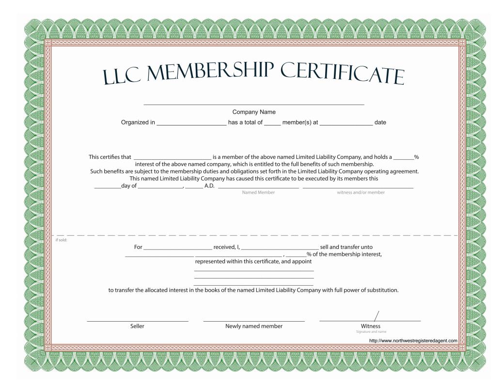 Llc Membership Certificate - Free Template For New Member Certificate Template