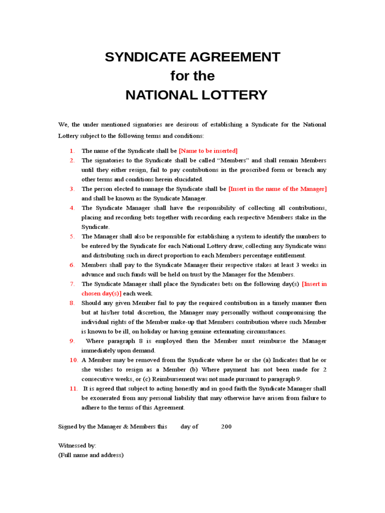 Lottery Syndicate Agreement Form - 6 Free Templates In Pdf Pertaining To Lottery Syndicate Agreement Template Word