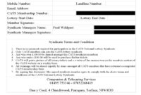 Lottery Syndicate Agreement Form – 6 Free Templates In Pdf with regard to Lottery Syndicate Agreement Template Word