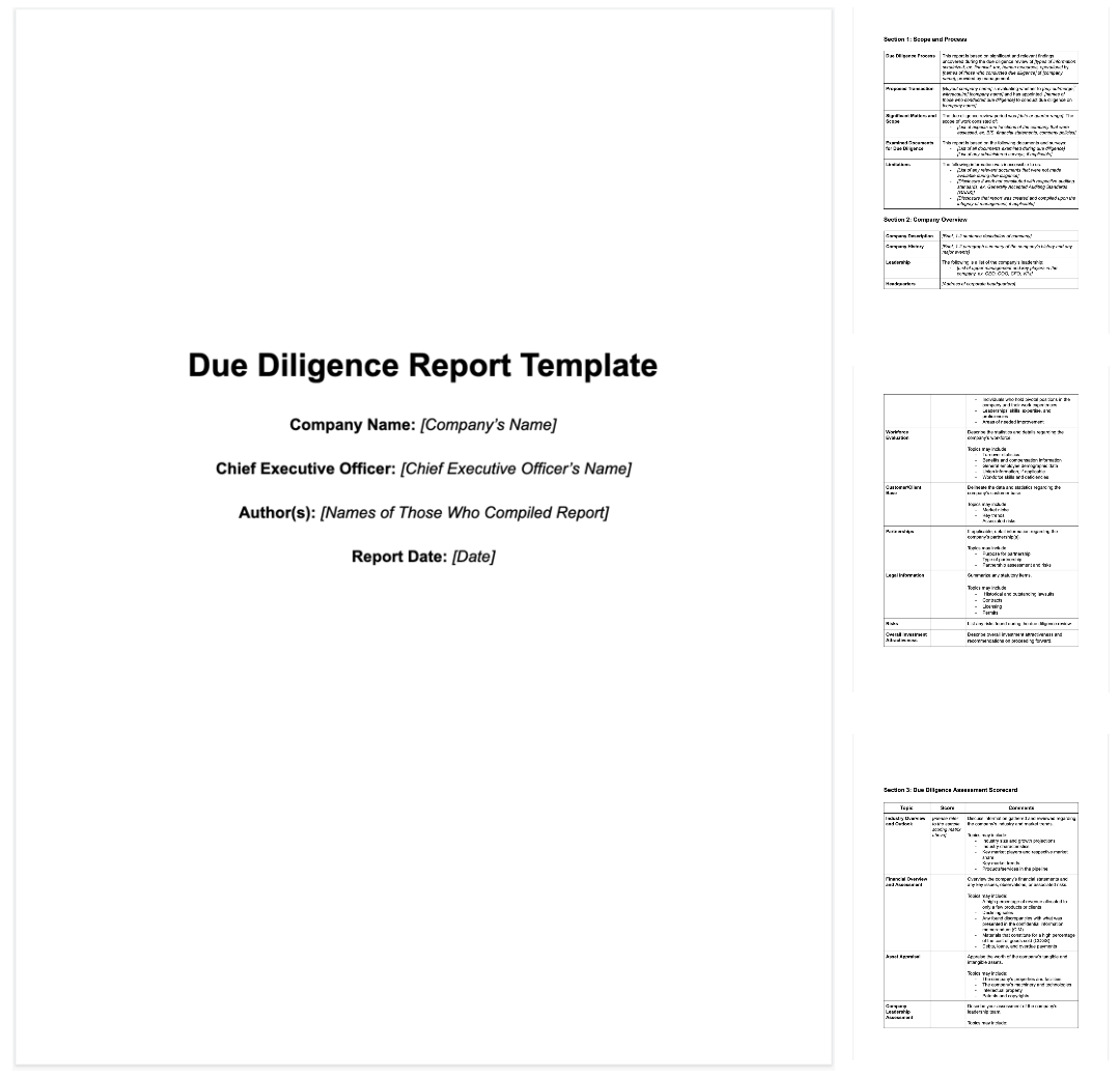 M&a Due Diligence Report [Sample Template + Excel Checklist] Intended For Vendor Due Diligence Report Template