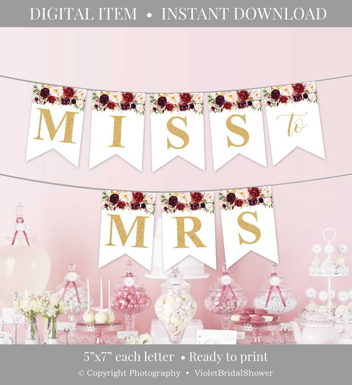 Marsala Party Banner Printable, Burgundy Floral Party Pertaining To Bride To Be Banner Template