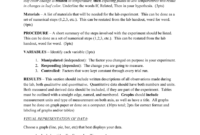 Mini Lab Report Format: Title – Should Include An Original with Lab Report Template Word